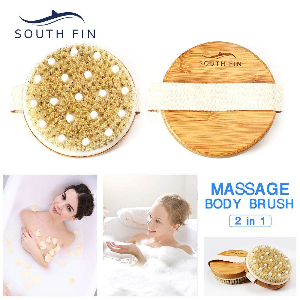 2in1 Body Massage Brush Round Shape Bamboo Bamboo Bristle Rubber Massage Head Bath Care Exfoliating Scrub Tool BZ082