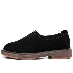 Image 3 - Stq 2020 primavera mulher apartamentos sapatos mulher deslizamento em mocassins planos camurça sapatos de couro artesanal de borracha barco sapatos preto oxfords 1702