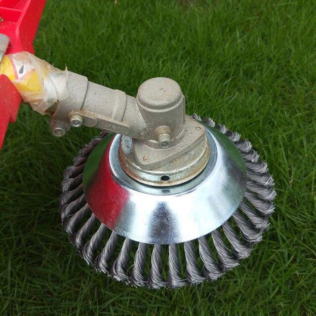 Zaokrąglona kosiarka do trawy szczotka do chwastów kosiarka do trawy koło do fugowania drut stalowy trawa skręcona akcesoria szczotka do chwastów polerowanie miska typ trymer