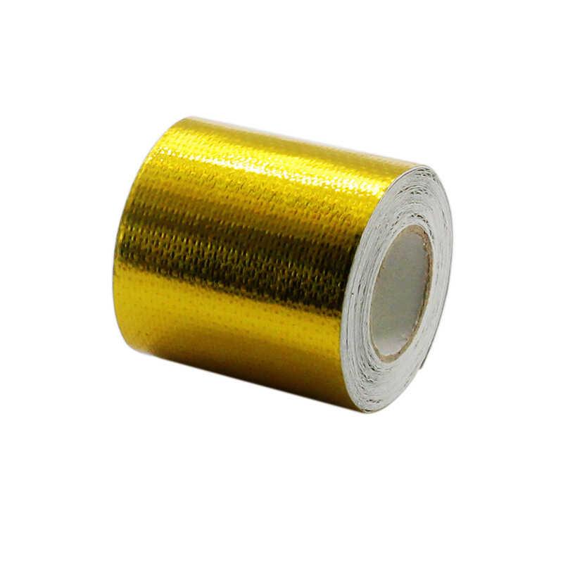 2 インチ * 5 メートル反映金熱テープ吸気ラップ反射熱バリア自己粘着エンジンの熱保護にくい