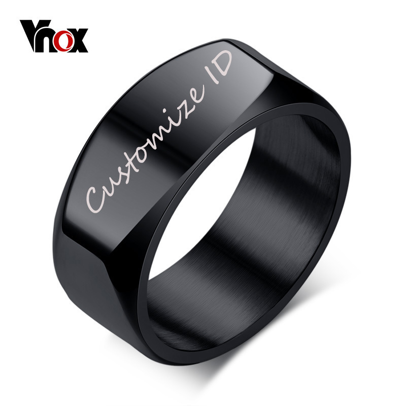 Vnox 8mm Free Engraving/Record Mens Ring Punk Stainless Steel Basic Ring for Men Boy Cocktail Male Ceremony Jewelry vnox rock punk men s cocktail ring vintage silver tone rings for men anel masculino turkish male jewelry