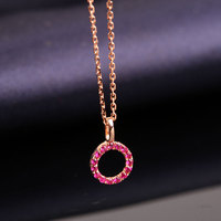 Robira Statement Choker Necklace 14K Gold Natural Ruby Round Pendants Necklace For Women Birthday Precious Stone Jewelry
