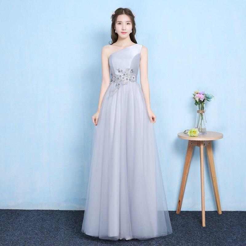 Cor cinza vestido de dama de honra de um ombro vestido de festa anual de casamento do vintage vestido de convidado