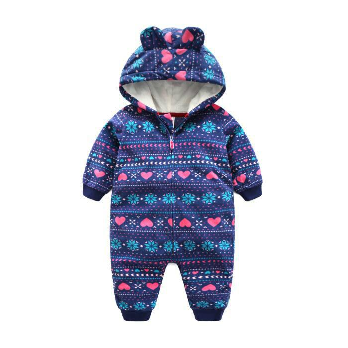 2017 new 3 colour baby girl clothes with hooded Ear outwear baby jumpsuits 6M 24M war
