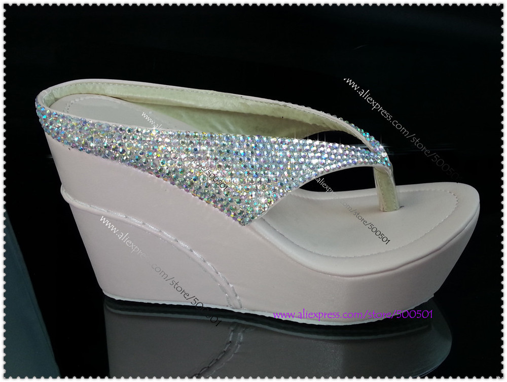 Crystal Wedge Flip Flops High Heel Flip Flops glitter