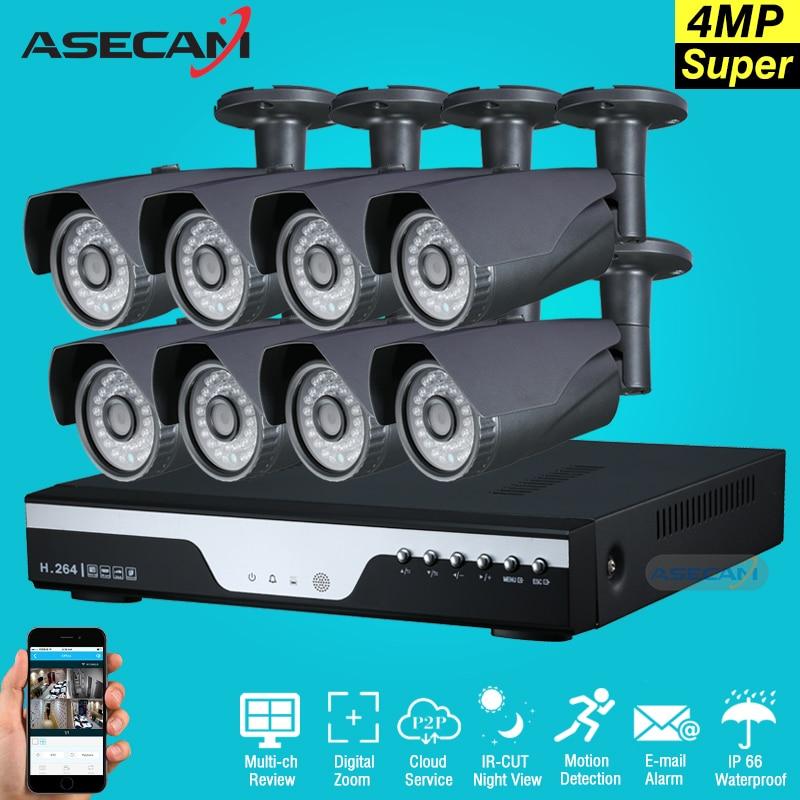 Супер 4mp Full HD 8ch Камеры Скрытого видеонаблюдения комплект Серый Металл Пуля Открытый безопасности Камера h.264 dvr p2p оповещение по электронной ...