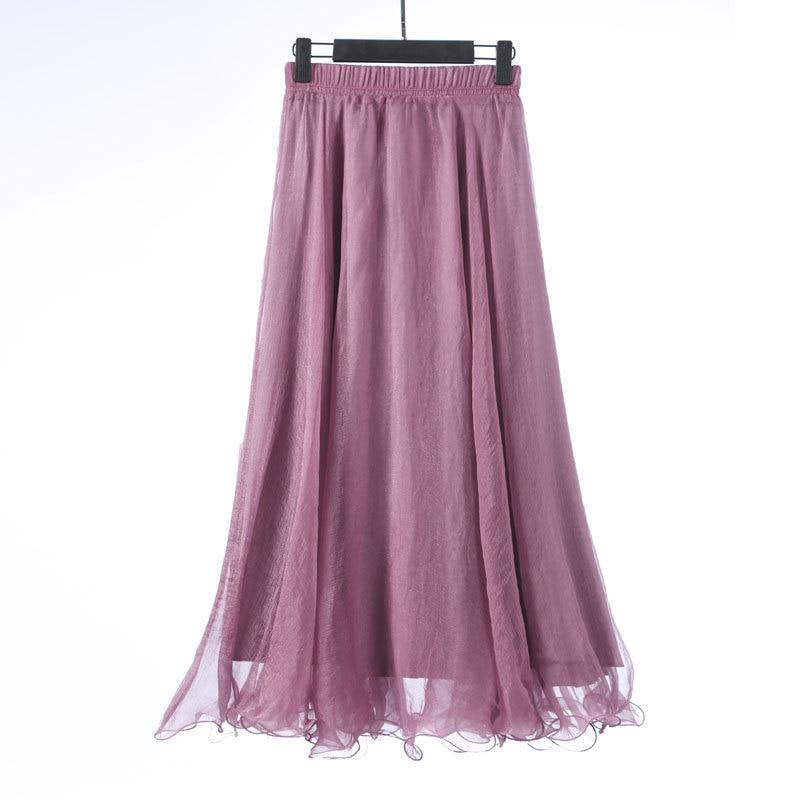 Sherhure 19 High Waist Women Chiffon Long Skirts Floor Length Ruffles White Summer Boho Maxi Skirt Saia Longa Faldas 39