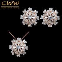 CWWZircons Projekt Żywe Kwiaty Panie Biżuteria Złota Róża Kolor Cyrkonia Betonowa T181 Mody Zestawy Biżuterii Dla Kobiet