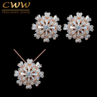 2015 Fashion Ladies Jewelry 18K Rose Gold Plated Cubic Zirconia Diamond Paved Fashion Jewellery Sets For