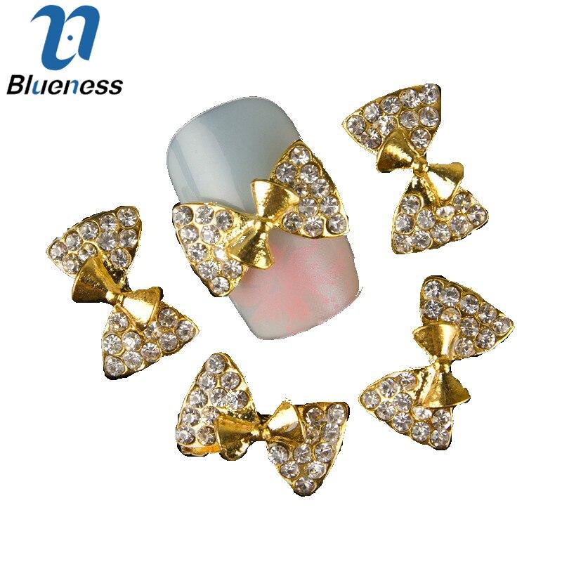 Blueness 10Pcs Golden Alloy Glitter 3D Nail Art Decorations With Rhinestones  Manicure Charms On Nails Salon Supplies TN339 e5bc02efdc9f