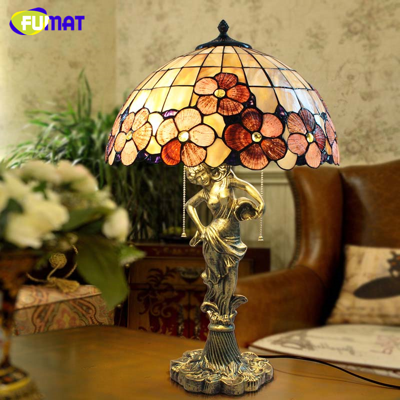 FUMAT European Style Tiffany Beauty Flower Shell Shade Table Lamp for Living Room Bedroom Office Lamp E27 Stand Table Lights 6inch european pastoral retro style table lamp colorful flower pattern lamp shade bedroom living room dining room lights