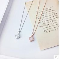 VV VB003 925 Sterling Silver Four Leaf Clover Necklace 1 Flower Necklace Black Agate Onyx White