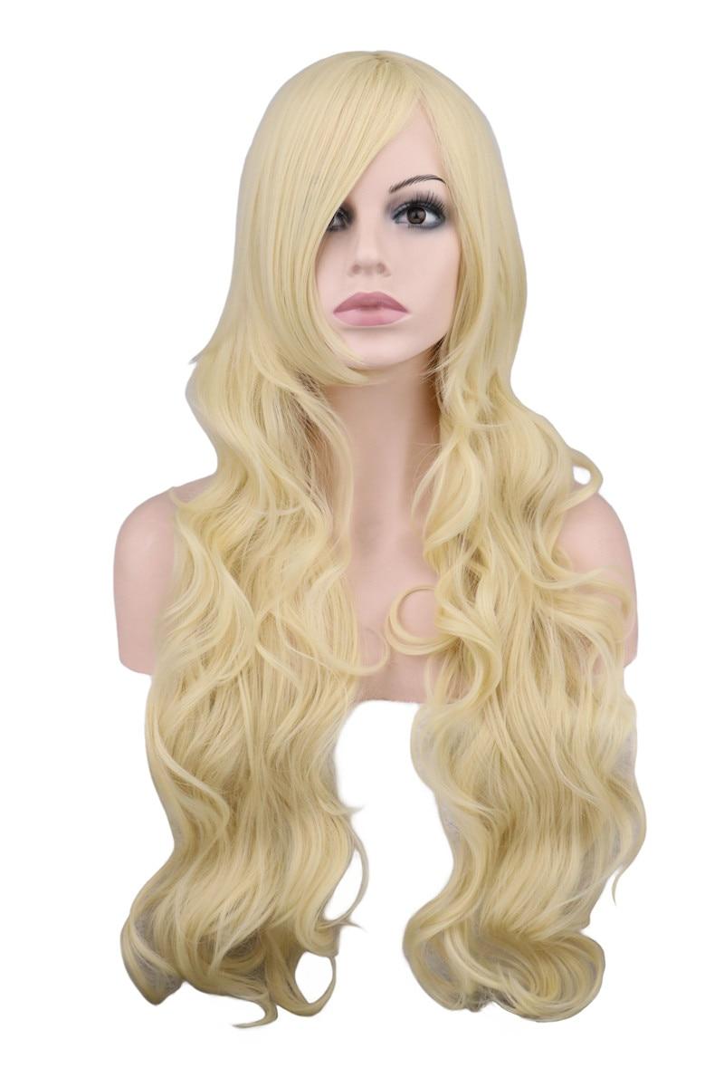 QQXCAIW Lång Vågig Cosplay Svart Lila Vit Röd Rosa Blå Blond - Syntetiskt hår - Foto 1