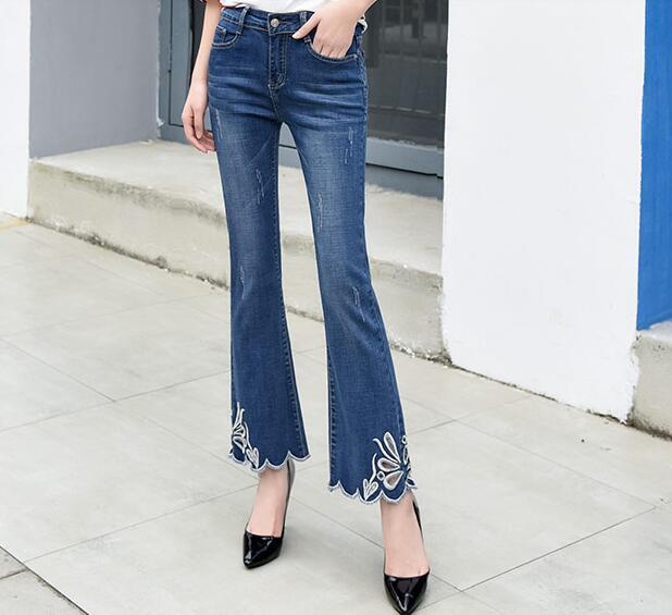 Évider Denim Capris Coton Pantalon Jeans Pour Nouvelle Mélange Taille Plus Tyn0811 Femmes Mode Minceur La Casual Printemps Flare YPfnASP