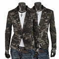 Free Shipping Military Style Camouflage Color Suit and One Buckle Small Coat Men's Slim Blazers