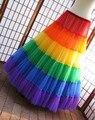 Chegada nova Vintage Boneless Azáfama Deslizamento Underskirt Anágua Uma Linha Longa Até O Chão Colorido Rainbow Petticoat Nupcial Barato