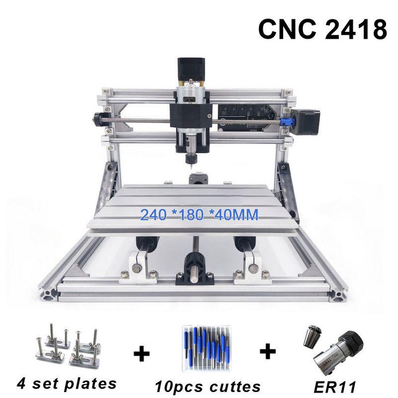 CNC 2418 Mill Laser Engraving Machine with 2500mw Head ER11 Wood Router PCB PVC Milling Machine Wood Carving Machine DIY cnc engraving machine 2418 diy milling machine wood carving router er11 motor pcb engraver with grbl control 2418 machine