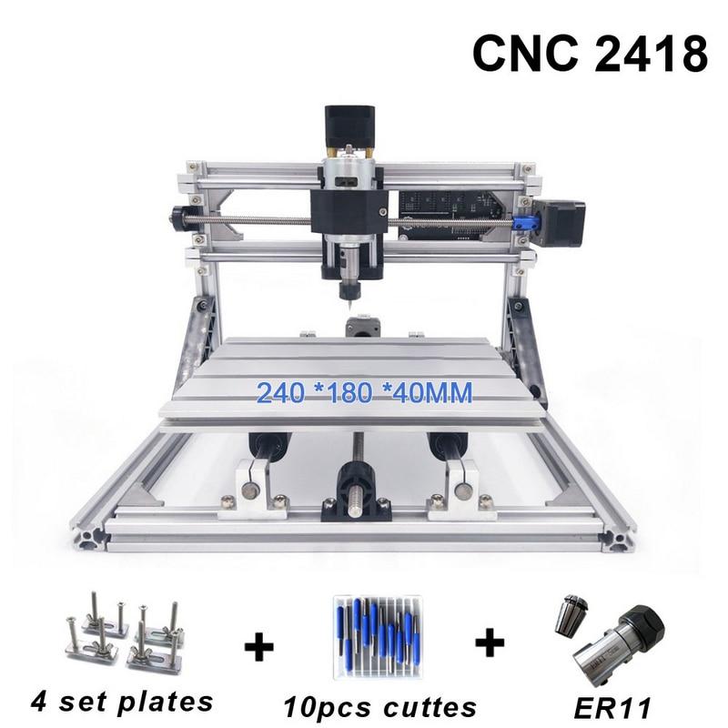 Macchina Per Incidere di CNC 2418 Mill Laser con 2500 mw Router di Legno di Testa di ER11 PCB PVC di Fresatura del Legno Macchina Intagliare Macchina FAI DA TE