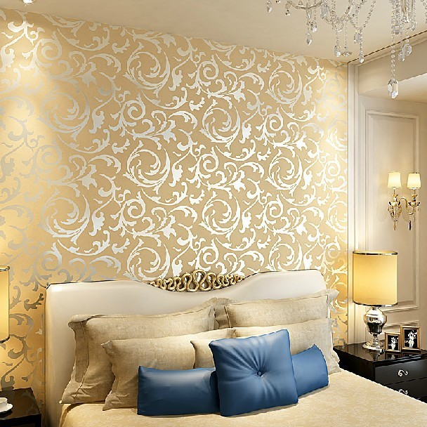 Feature wall wallpaper living room for Silver wallpaper living room