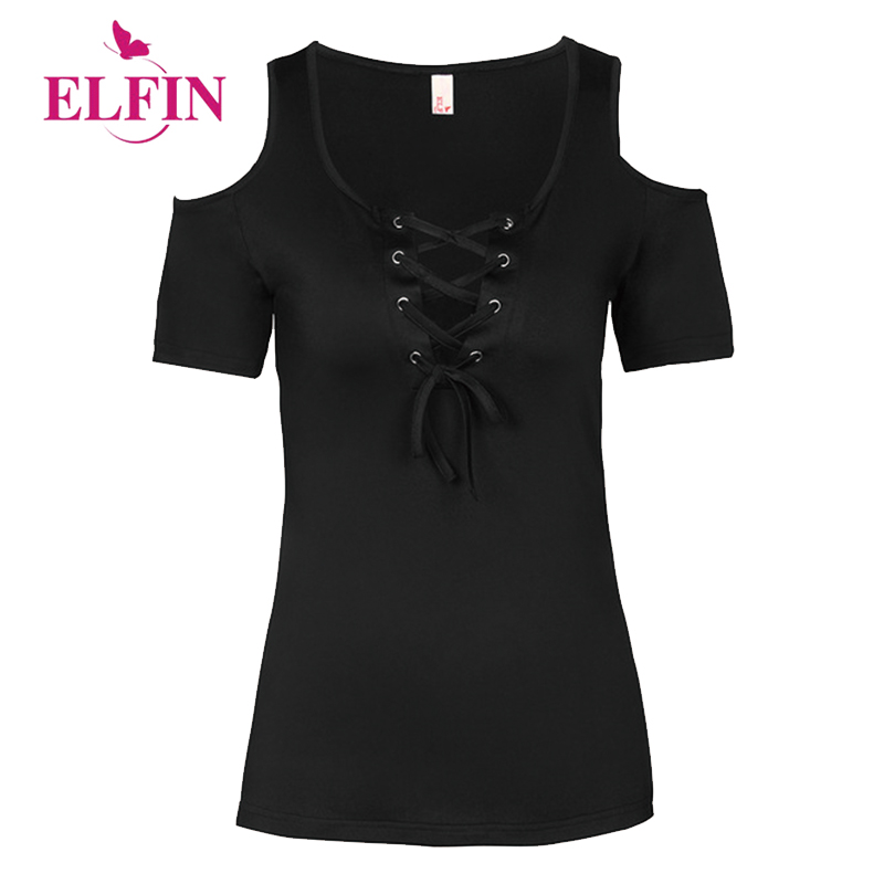Verano mujeres Color sólido con encaje hasta vendaje Criss manga corta Casual frío hombro camisetas Tops 5XL LJ9628R