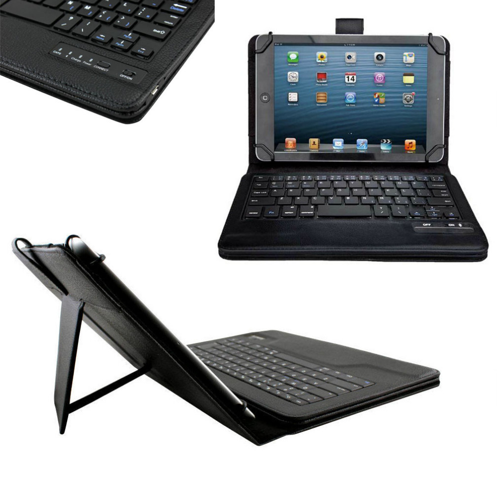Universal Dechatable Bluetooth Keyboard & PU Leather Case Cover With Stand for Lenovo Tab 3 7 Essential 710 710F TB3-710F universal 7 7 9 8 inch android windows ios tablet pc detachable bluetooth keyboard with touchpad pu leather case cover stand pen