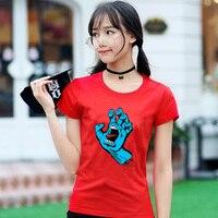 OEM Skateboard Skate Santa Cruz Printing High Quality T Shirt Women Top Quality Camiseta Short Sleeve