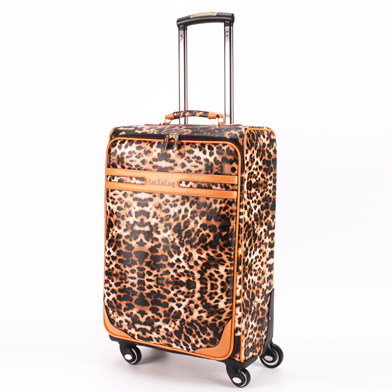 Cow Split leather trolley luggage universal wheels 16 20 24 leopard print luggage travel bag luggage password box,retro luggage rabbit print split top