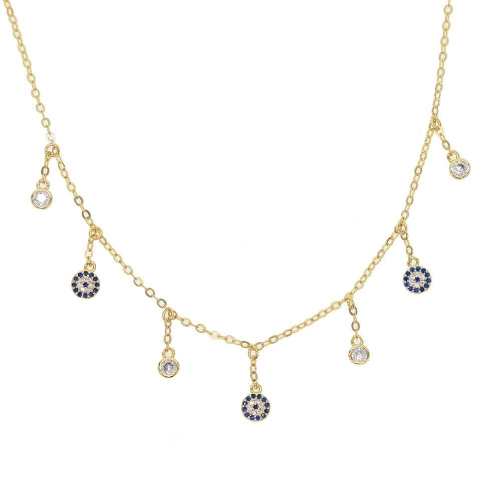 זהב צבע קסם לנשים מקסימים טיפת מזל עין רעה עגול cz נקודות טאסל רומנטי מאהב תכשיטי מתנה