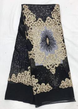 Black and gold colour Nigerian Lace Fabric ZH18111911 sequins net lace fabric 100% polyester sequins sequence lace fabric