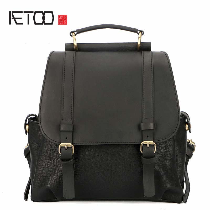 AETOO Designer original Japanese retro art first layer cowhide student bag female shoulder bag leather Korean bag qiaobao 2018 new korean version of the first layer of women s leather packet messenger bag female shoulder diagonal cross bag