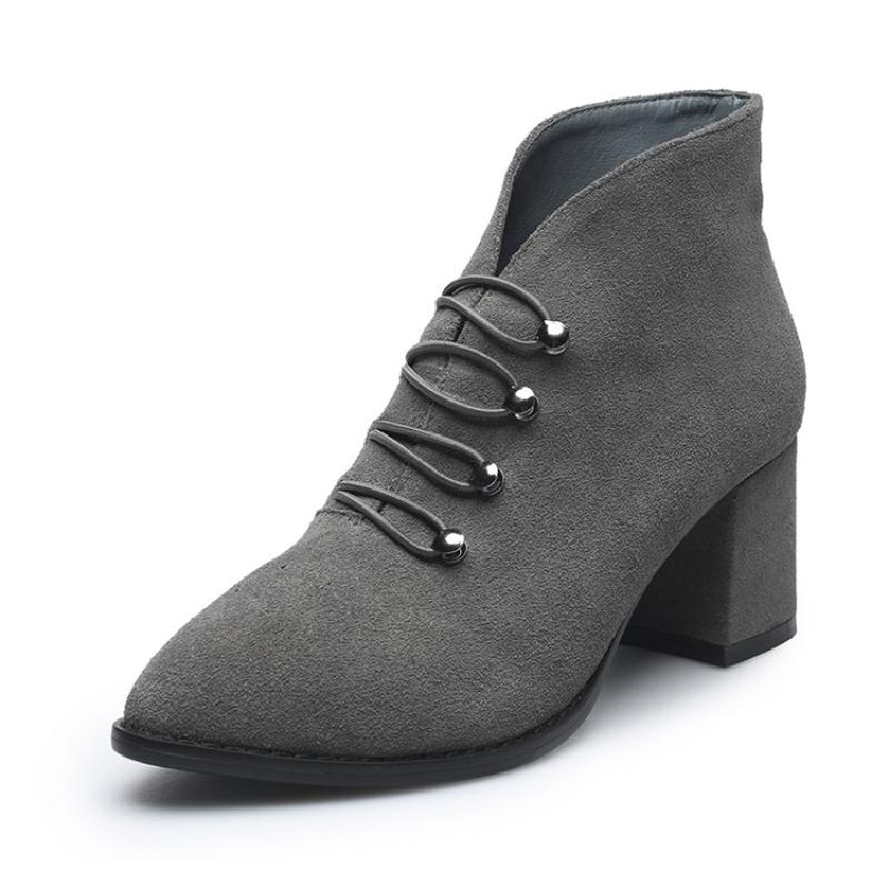 SALCXOI 2017 new autumn street style nubuck leather high-heeled boots woman Chelsea shoes pointed toe ankle boots for women &179
