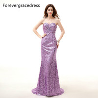 Forevergracedress Długie Cekinami Fioletowa Suknia Wieczorowa Syrenka Sweetheart Dekolt Lace Up Kryształowy Strona Formalna Suknia Plus Size