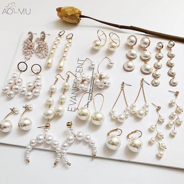 AOMU Design 2018 New Korea Big Circle Pearl String Drop Long Earring Gold  Metal Round Earrings 690856b4fefa