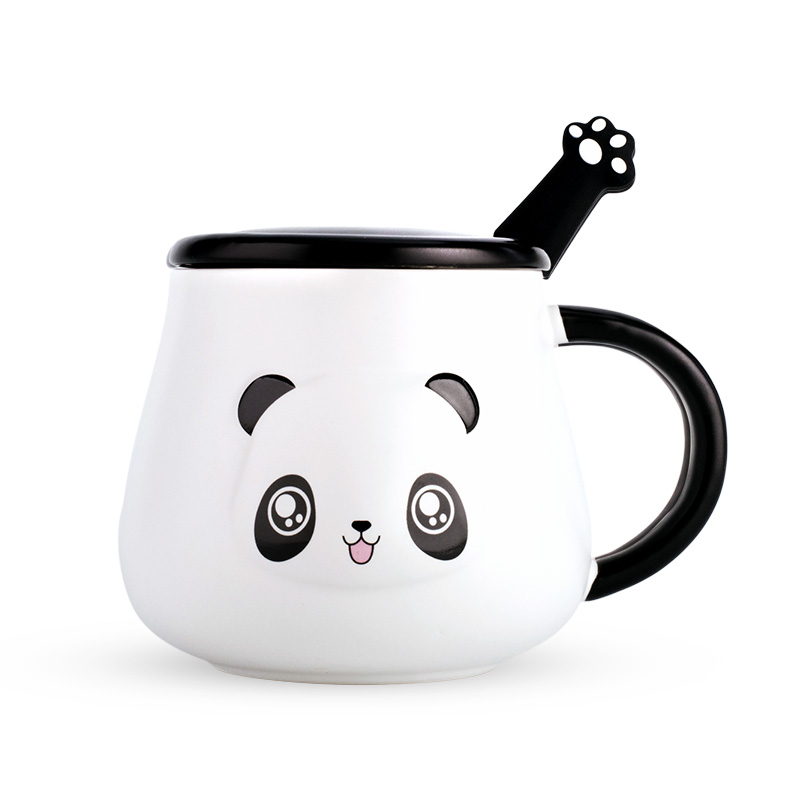 Big kawaii Panda Mugs ceramic cup coffee mugs milk mugs tea cups thermal water bottles with spoon lid For Kids Christmas gift