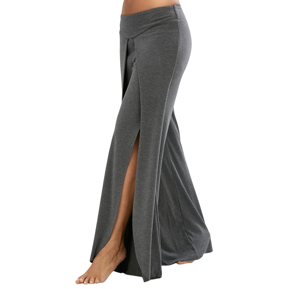 Side Slit Women Casual Loose Pants Hot Selling Solid Color Sexy Summer Trousers