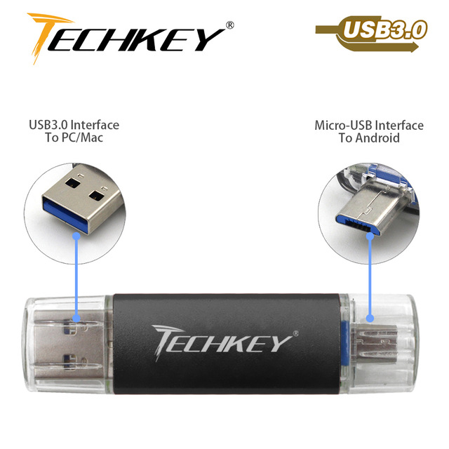 new TECHKEY OTG usb 3.0 32gb usb flash drive 3.0 64gb pen drive 16gb memoria cel usb stick pendrive gift for samsung mobile