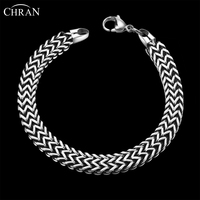 CHRAN Statement Brand Jewelry Accessories Charming Mens Bracelets Bangles Classic Link Style Stainless Steel Chain Bracelets
