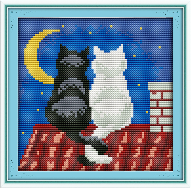 Black And White Cats Cross Stitch Kits Printed Patterns Canvas