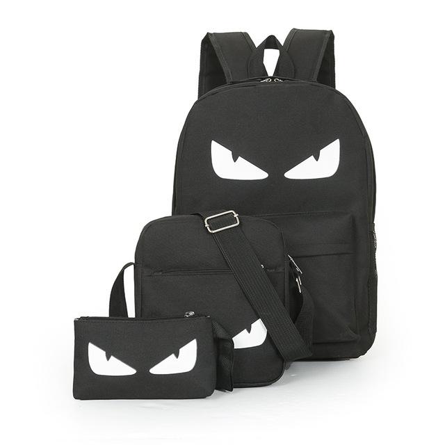 3Pcs/Sets Anime Luminous Black Backpacks