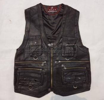 BOU 2020 male cowhide leather vest 100% leather multi-pocket vest