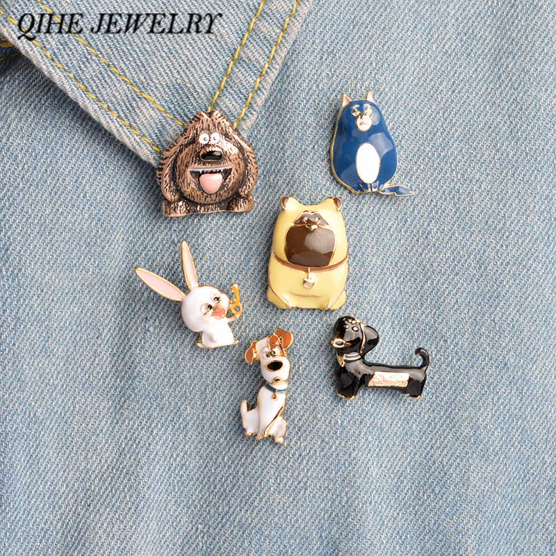 QIHE JEWELRY 6pcs/set Enamel pins set The Secret Life of Pets rabbit cat puppy Cartoon brooch pins wholesale drop shipping