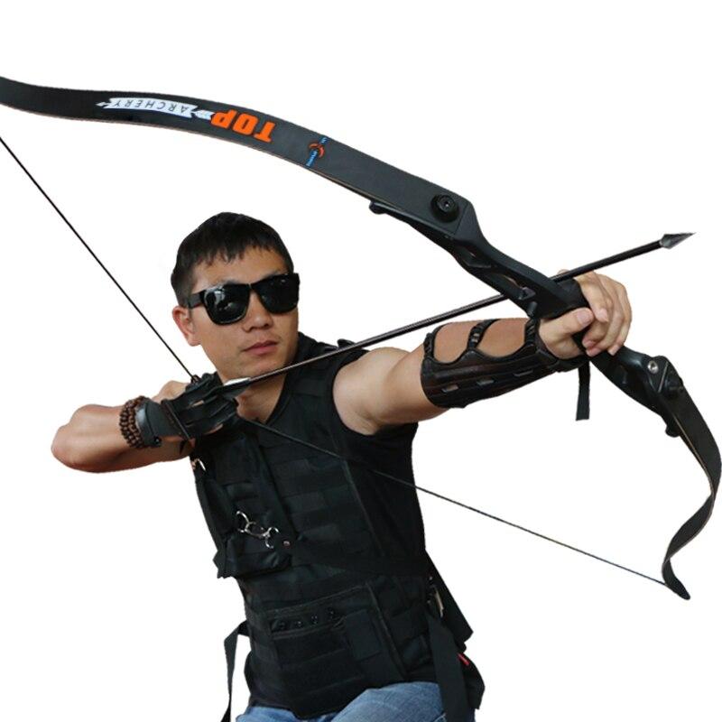 Spor ve Eğlence'ten Yay ve Ok'de 56 inç 30 50lbs okçuluk olimpik yay Metal yükseltici avcılık çekim yay siyah eğitim Takedown yay ücretsiz kargo title=