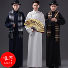 Chinese style long-sleeve male costume jacket national trend long gown