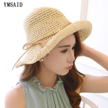 705fa454c0f Summer Handmade Straw Hat Women s Garland Sunbonnet Bucket hat roll-up hem Beach  Cap Dome