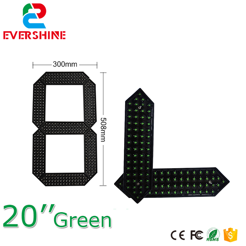 20 Green Red and White Color outdoor Waterproof led Gas Price Digita Numbers Module LED Digital Display 7 Segment Module hot sale 16inch waterproof oil price led digital number display screen sign panel from china