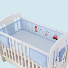 Бампер для детской кровати, воздухопроницаемая сетка, защита для кроватки, Комплект постельного белья для детской кроватки, комплект из 2 предметов, подходит для детской кроватки всех размеров