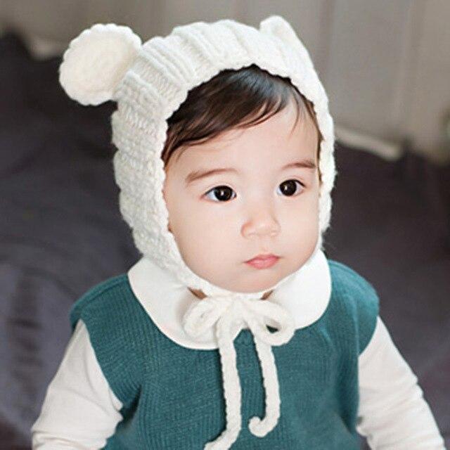 4c64a88317a Korean girl and boy cute cartoon winter bear baby hat children ear hand knit  wool cap sleeve head Infant s beanies Headwear