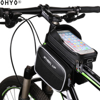 OHYO Bike Phone Bag Waterproof Bike phone Bags 6.2 Inch Cellphone Bags Bicycle Bag with Double Pouch Cycling Pannier