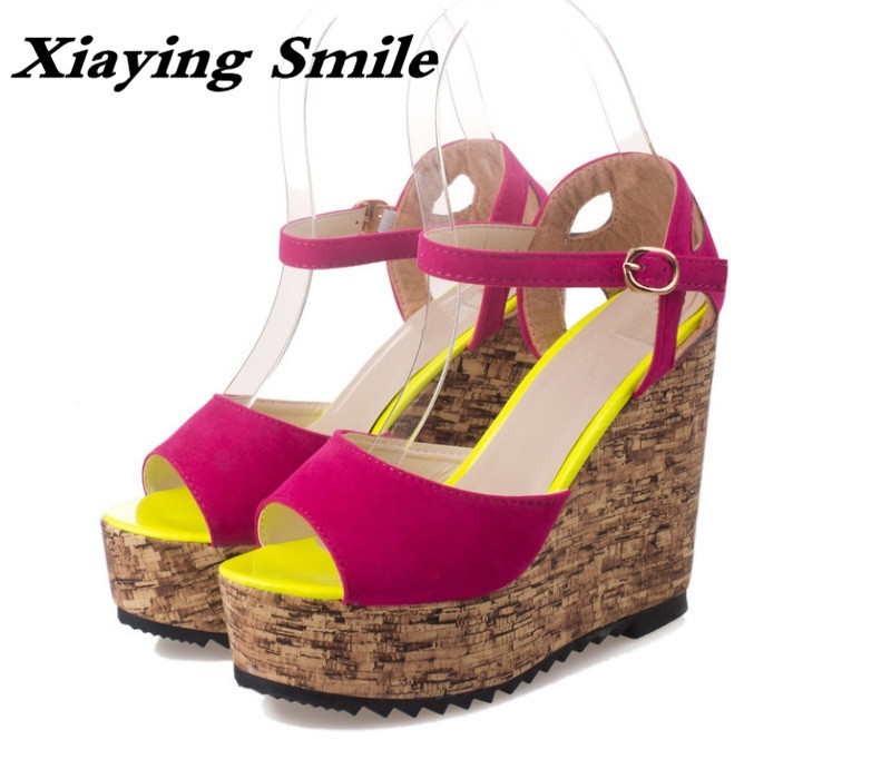 Xiaying Smile Summer Woman Sandals Platform Wedges Heel Women Pumps Buckle Strap Fashion Mixed Colors Flock Lady Women Shoes xiaying smile new summer woman sandals shoes women pumps platform fashion casual square heel buckle strap open toe women shoes