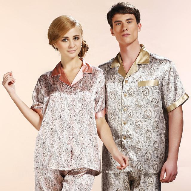 Homens marca 100% De Seda Sleepwear Verão Curto-Luva 2 Peça Define Homens e Mulheres Amantes de Pijama de Seda Pijamas Livre grátis